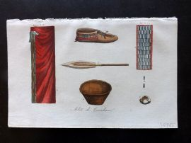 Ferrario 1826 Hand Col Print. Abiti de Canadiani. Canada Indian Costume, Tools